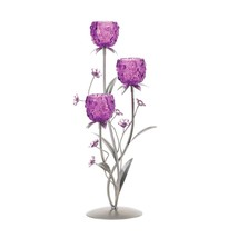 Decorative Candle Holders, Metallic Tall Candle Holder With Flowers - $36.99