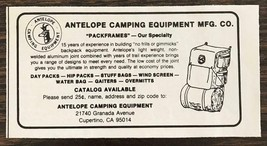 1979 Antelope Camping Equipment Cupertino CA Print Ad Pack Frames - $8.95