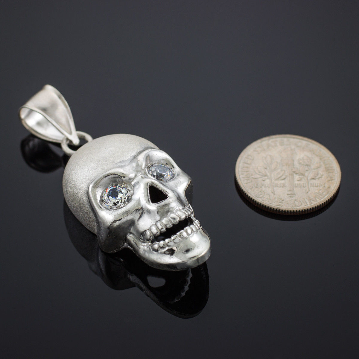 Sterling Silver Polished Skull With Clear CZ Eyes Pendant