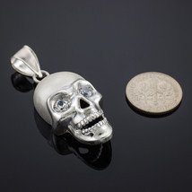 Sterling Silver Polished Skull With Clear CZ Eyes Pendant image 1