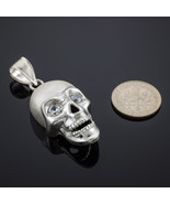 Sterling Silver Polished Skull With Clear CZ Eyes Pendant - $49.99