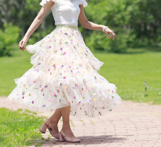 Champagne Tiered Tulle Skirt Outfit Floral Layered Tulle Skirt Princess Skirt image 5