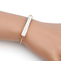 UNITED ELEGANCE Trendy Rose Tone Bolo Bar Bracelet With Swarovski Style Crystals - $22.99