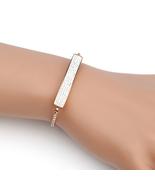 UNITED ELEGANCE Trendy Rose Tone Bolo Bar Bracelet With Swarovski Style ... - $22.99