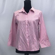 97d629ace5ad4f Talbots Petites Wrinkle Resistant Stretch Size 12 Geometric Blouse Shirt Top  - $15.40
