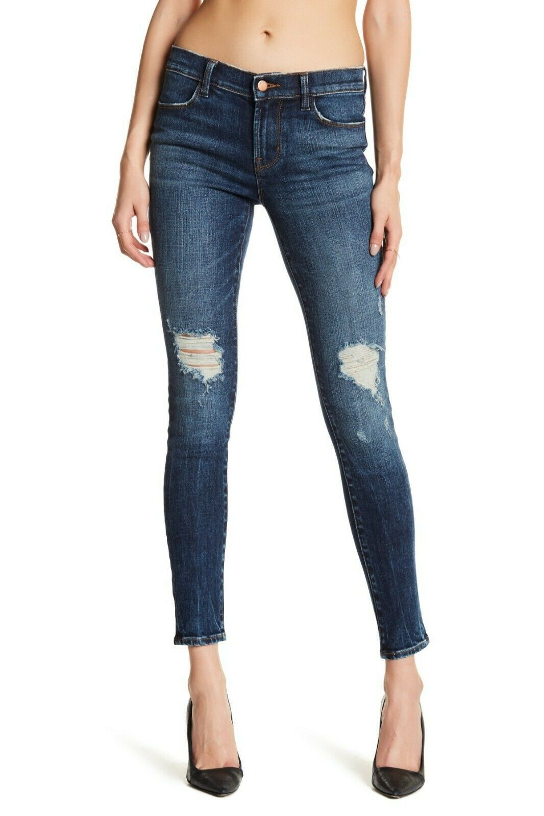 $228 J Brand - 620 Mid-Rise Super Skinny in Dark Erosion (Destroyed) - Size 26
