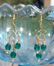 Teal Crystal Chandelier Earrings,  Swarovski Celtic Beaded Dangles, Cust... - $15.00
