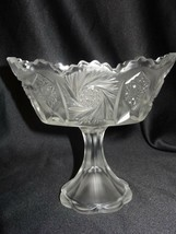Fenton Art Glass Crystal Velvet Pinwheel Hobstar Candy Bowl Compote - $35.00