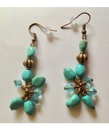 Turquoise Magnesite and Copper Dangle Hook Earrings, Copper Plated, Drop... - $15.00