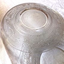 """VTG SET OF 2 INDIANA CUT PRESSED CLEAR GLASS 7"""" PLATE DISH image 7"""