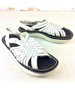 Kalso Earth Shoe Womens Size 5.5 Aquarius White Leather Sandal Woven Ank... - $26.72