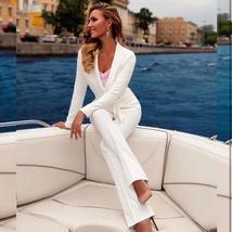 Women's Sexy Gold Long Sleeve Fashion Blazer Jacket and Pants Suit Set image 4
