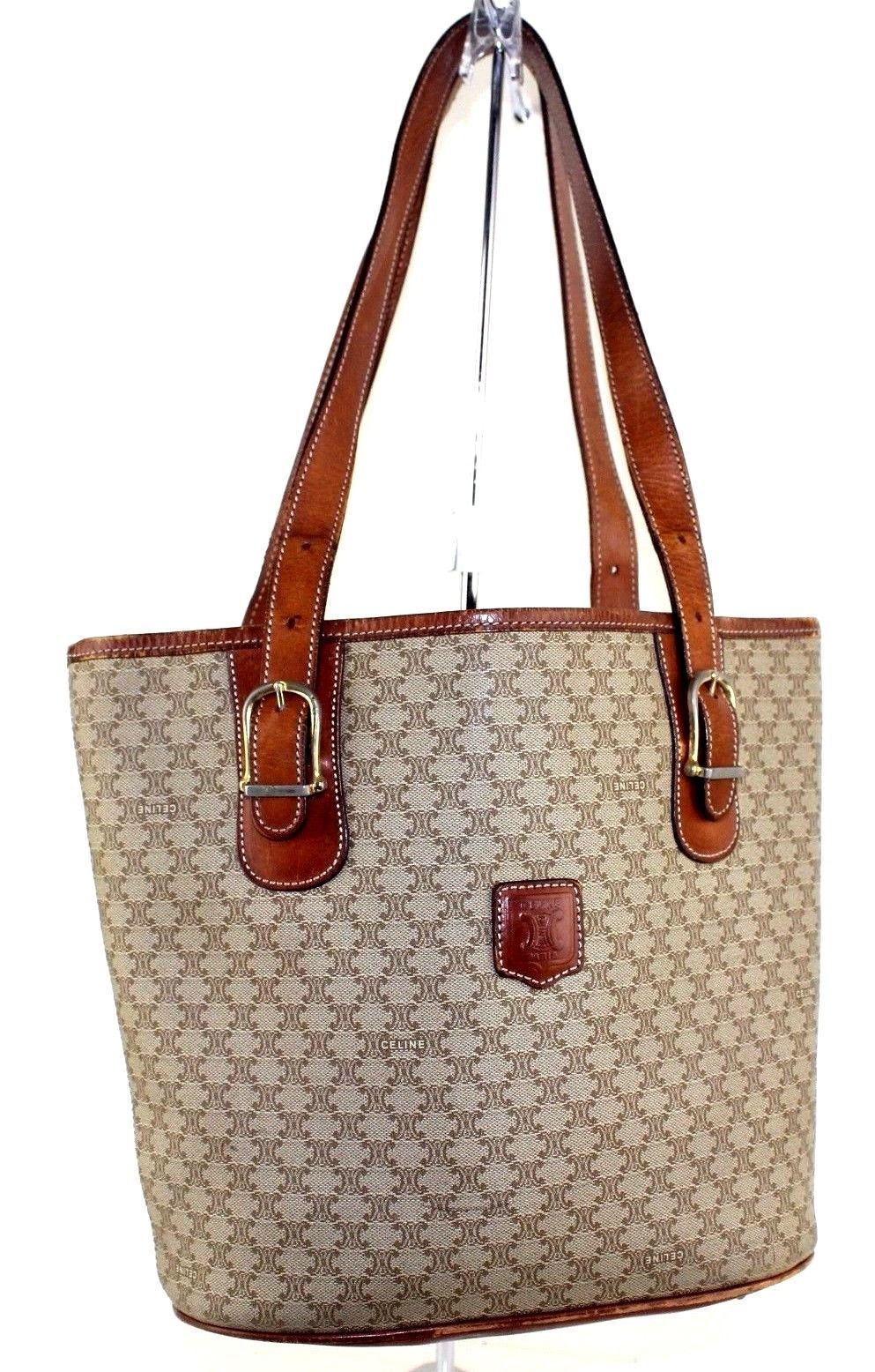Auth CELINE Macadam Beige Coated Canvas Brown Leather Tote Shoulder Bag  Italy - £76.34 GBP 172a901f0230f