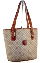 Auth CELINE Macadam Beige Coated Canvas Brown Leather Tote Shoulder Bag ... - $98.01