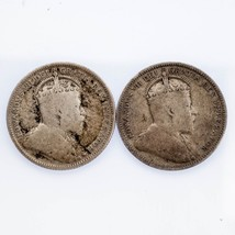 Lot of 2 Canadian 25C Coins 1905 and 1907 Fine Condition KM #11 - $64.35