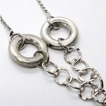 SILVER 925 NECKLACE, CHAIN ROLO', CIRCLES HANGING, PROCESSED AND HAMMERED image 3