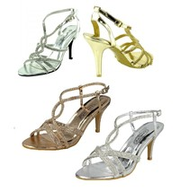 Women Gold Sandal Shoes High Heels Ladies Party Night Out Bridal Wedding... - $19.47