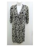 Laundry Shelli Segal Womens Medium Wrap Dress Black Tan White Geo V-neck... - $24.99