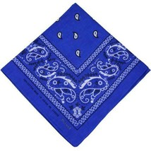 NEW MEN'S 12 PACK COTTON PAISLEY HEAD WRAP SCARF WRISTBAND BANDANA ROYAL BLUE