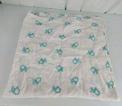 Aden + Anais Lion Baby Blanket Muslin Swaddle White Aqua Blue Green Teal  - $26.72
