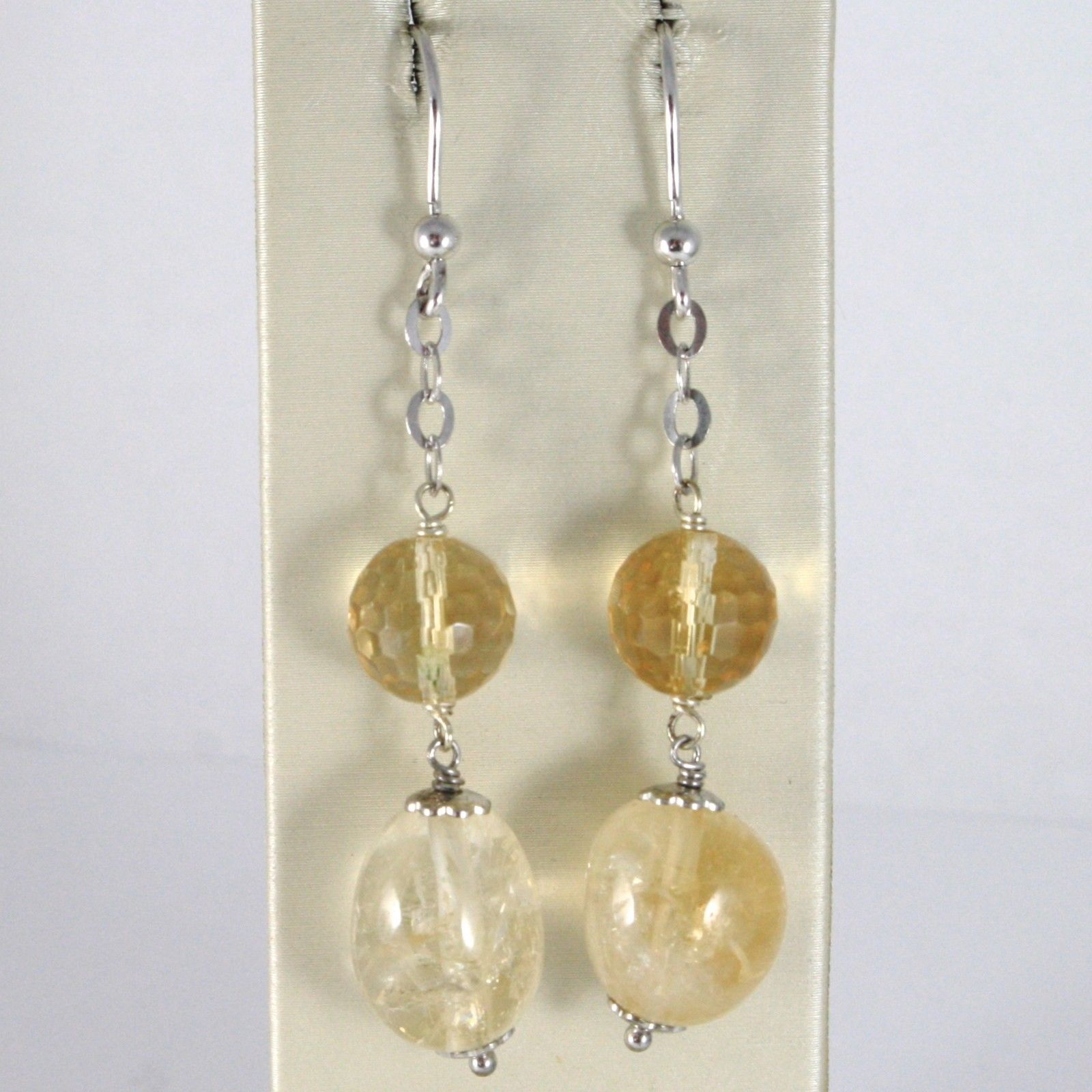 EARRINGS SILVER 925 TRIED AND TESTED HANGING WITH QUARTZ CITRINE OVAL FACETED