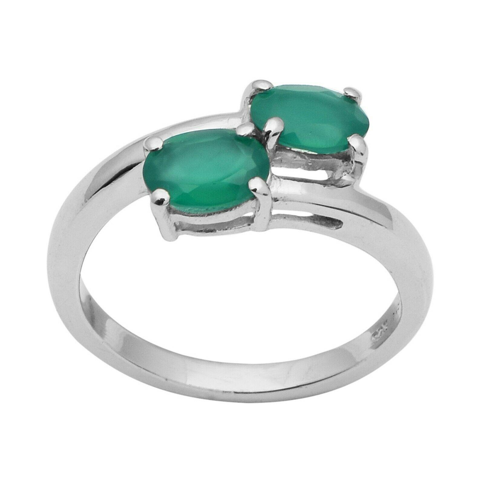 925 Sterling Silver Green Onyx Oval Cut By Pass Split Shank Women Stackable Ring