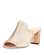 Jimmy Choo Myla Studded Metallic Leather Slide Sandal MSRP: $750.00 Size 37 - $470.25