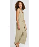 Womens Sleeveless Linen Cropped Jumpsuit- A New Day - Tan Haze - Size XL... - $14.84
