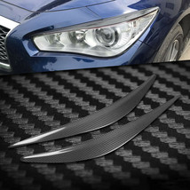 Carbon Fiber Car Headlight Cover Eyebrows Eyelid Trim For Infiniti Q50 1... - $48.50