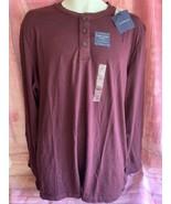 NWT! Croft & Barrow Men's Easy Care Henley Shirt Size L Dark Red - $12.00