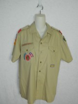 Boy Scouts Shirt Brown Sleeve With Patches  Uniform Shirt Size Medium - $26.03