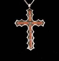 """Vintage Large Cross necklace - mosaic sterling silver pendant - 18"""" sterling cha - $175.00"""