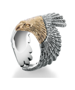 Real Solid 925 Sterling Silver Eagle Gold Color Head Ring For Women Men - $44.99