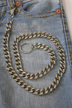 New Men Silver Casual Chunky Metal Extra Long Wallet Chains KeyChain Biker Jeans - $23.51