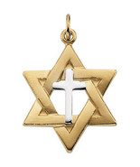 Yellow Gold Filled & Sterling Silver Star of David Pendant with Cross - $102.00