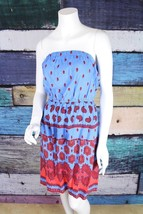 Old Navy Medium M Blue Red Paisley Boho Gypsy Hippie Strapless Festival ... - $14.84