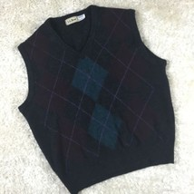 LL Bean 100% Lambswool Argyle Gray Sweater Vest Made In Scotland Size L - $30.84