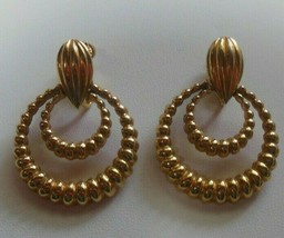 Vintage Signed Vendome Door-Knocker Clip-on Earrings Pat # 2809501 - $45.00