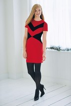 Vince Camuto Red & Black Zig Zag Panel Ponte Shift Dress ( Sz. 8 ) Nwt $159.00 - $48.62
