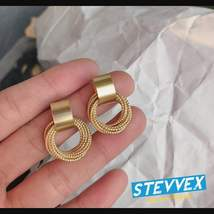 Simple New Gold Metal Multi-layer Circle Winding Geometric Round Small Stud Earr - $14.99