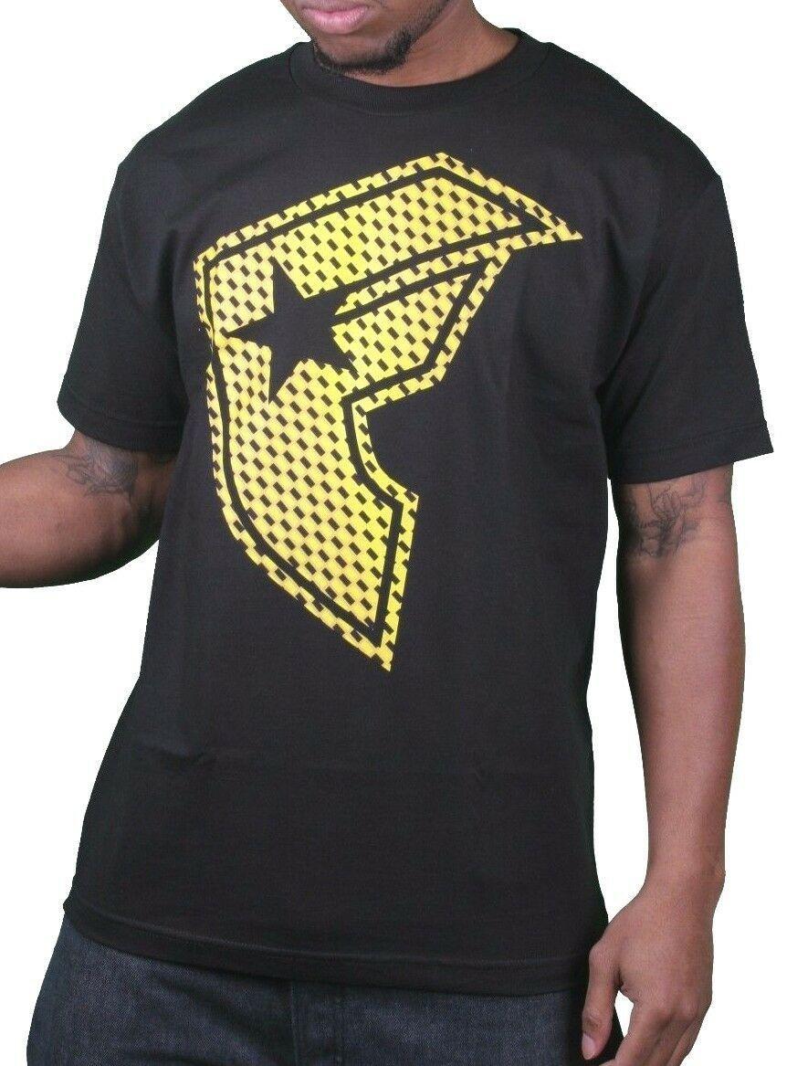 Famous Stars & Straps Homme Noir/Jaune Réflecteur Boh Badge T-Shirt Petit Nwt