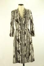 BCBG Max Azria S Brown Ivory Stripe True Wrap Dress Career Cocktail EUC 3/4 slv  - $31.79