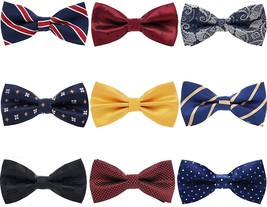 MENDENG Mens 3 Pack Stripe Cotton Adjustable Pre-Tied Mixed Color Bow Tie Bowtie