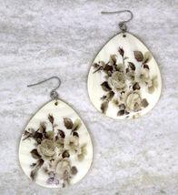 Women new large ivory floral shell tear drop hook pierced earrings - ₹1,367.54 INR