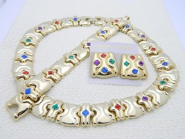 VTG Gold Tone 70's-80's Gold Tone Multi-Color Rhinestone Jewelry Set - $49.50