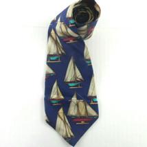 NAUTICA Navy Print Silk Tie Nautical Sailboat USA Made - $12.99