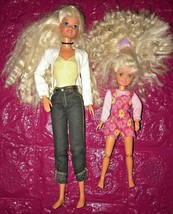 """1970's ? 12"""" Barbie &  8"""" Skipper Dolls W/ Crimps In Hair & Clothing Articulated - $15.00"""