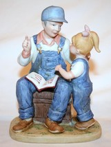 "Homco 1985 Denim Days Figurine ""Grandpa's Story"" #8894 Euc - $25.00"