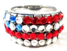 USA Flag Band Ring Crystal Red White Blue Silver Tone Metal Size 5.5 Patriotic - $16.99