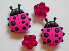 Clog Shoe Plug Button Charm Button Holey Accessories Fit WristBand Lady Bug - $7.99